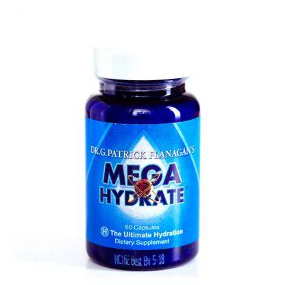 MegaHydrate antioxidant supplement in blue bottle