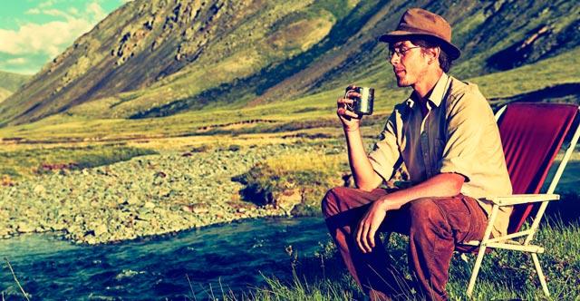 Outdoor Camping Reishi Tea Drinking Man
