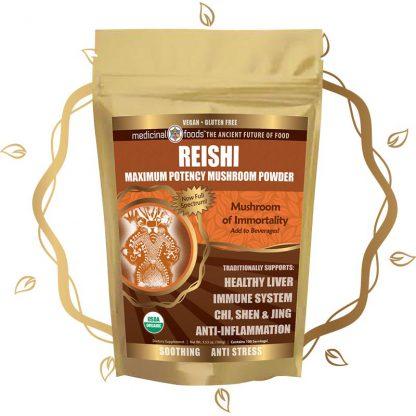 Reishi Mushroom Powder Product Gold Leaf