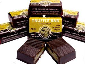 Hawaiian Macadamia Nut Butter Filled Raw Chocolate Truffle Bars