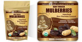 Raw Chocolate White Mulberries Bag Emblem