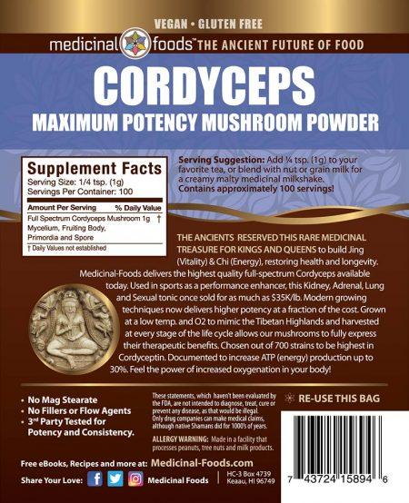 Cordyceps Mushroom Powder Medicinal Ingredients