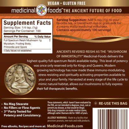 Reishi Mushroom Powder Ingredients Medicinal Foods