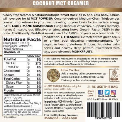 Smart Cream Coconut Mct Oil Lions Mane Nootropic Ingredient Label