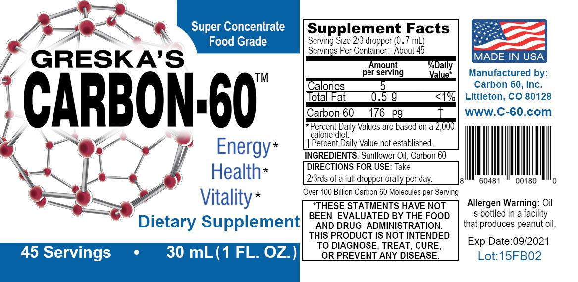 Greska C60 Carbon Supplement Ingredients Label Directions